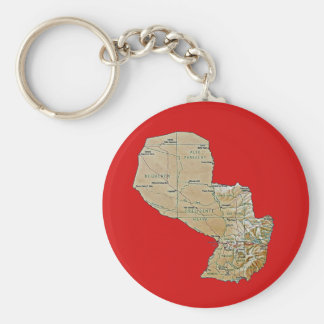Paraguay Map Keychain