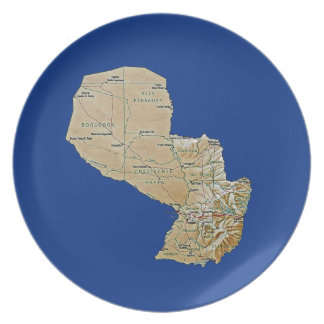 Paraguay Map Plate