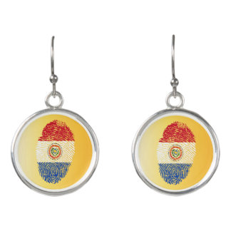 Paraguayan touch fingerprint flag earrings