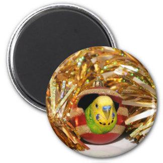 Parakeet Christmas Magnet