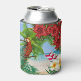 Parakeet on a Tropical Beach Can Cooler
