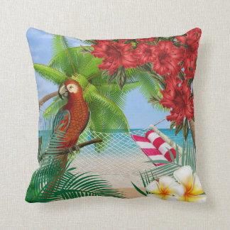 Parakeet on a Tropical Beach Design Cushion