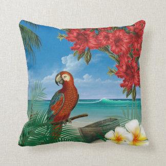 Parakeet on a Tropical Ocean Design Cushion