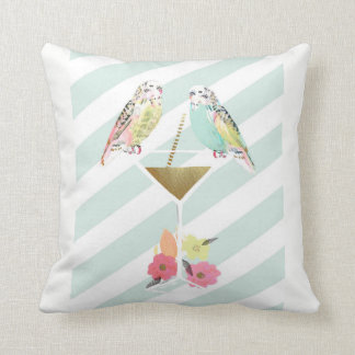 Parakeets & Cocktail Throw Cushion