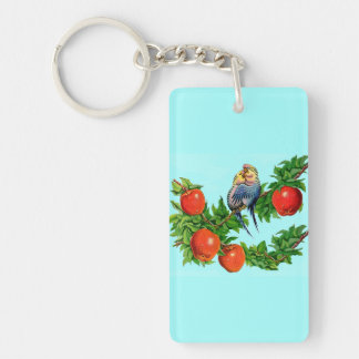 parakeets in love key ring