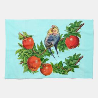 parakeets in love tea towel