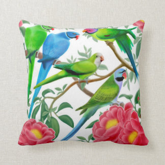 Parakeets in Peony Flowers Pillow Throw Cushion