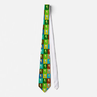 Parakeets Tiled design in earthy tones Tie