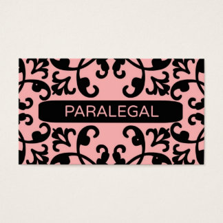 Paralegal Peach Damask Business Card