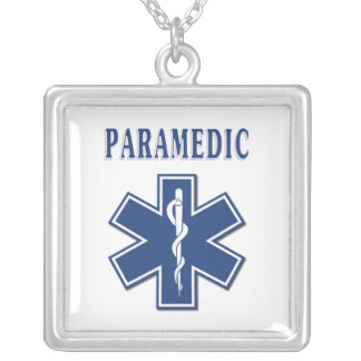 Paramedic Blue Star of Life Silver Plated Necklace