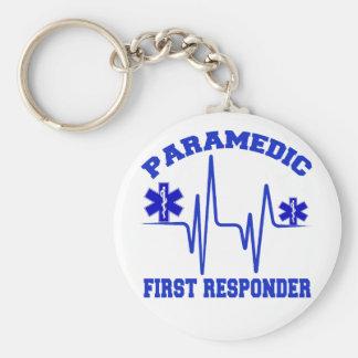 Paramedic First Responder Basic Round Button Key Ring