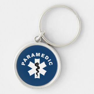 Paramedic Star of Life Silver-Colored Round Key Ring