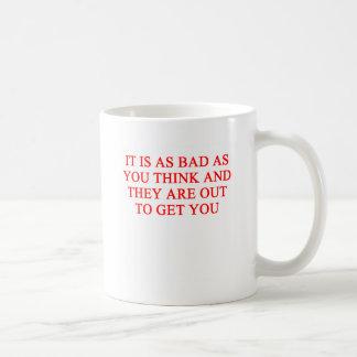 paranoia basic white mug