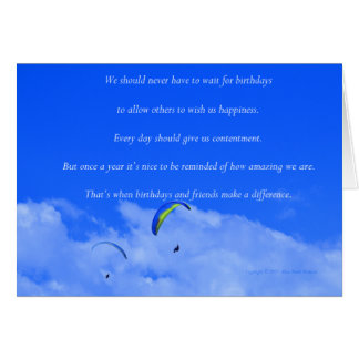 """Parasailing #13"" with poem: Friends and Birthdays Card"