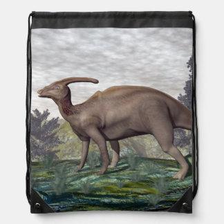 Parasaurolophus dinosaur - 3D render Drawstring Bag