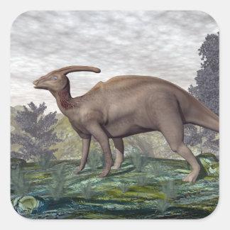 Parasaurolophus dinosaur - 3D render Square Sticker