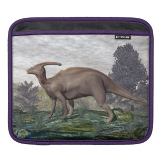 Parasaurolophus dinosaur among gingko trees iPad sleeve