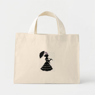 Parasol silhouette tiny tote bag