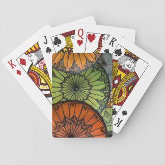 parasols for sale, bagan, myanmar playing cards