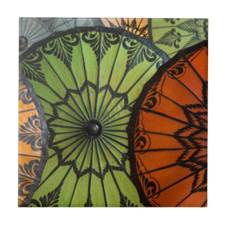 parasols for sale, bagan, myanmar tile