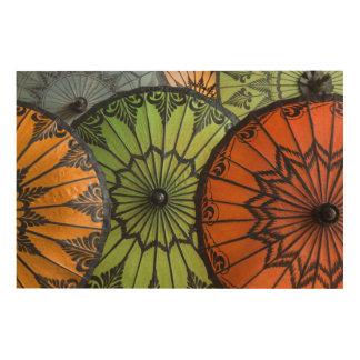 parasols for sale, bagan, myanmar wood print