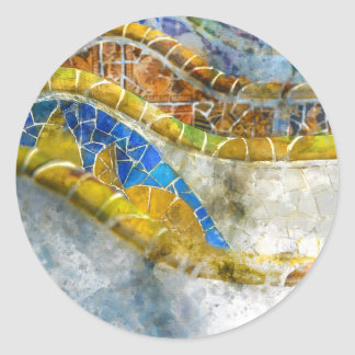 Parc Guell Bench Mosaics in Barcelona Spain Classic Round Sticker