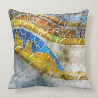 Parc Guell Bench Mosaics in Barcelona Spain Cushion