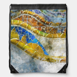 Parc Guell Bench Mosaics in Barcelona Spain Drawstring Bag