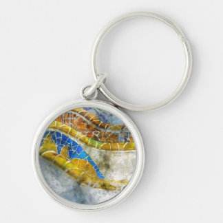 Parc Guell Bench Mosaics in Barcelona Spain Key Ring