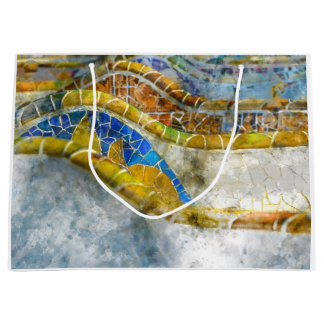 Parc Guell Bench Mosaics in Barcelona Spain Large Gift Bag