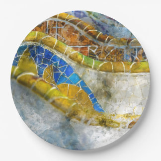 Parc Guell Bench Mosaics in Barcelona Spain Paper Plate