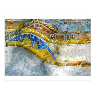 Parc Guell Bench Mosaics in Barcelona Spain Postcard