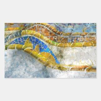 Parc Guell Bench Mosaics in Barcelona Spain Rectangular Sticker