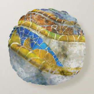 Parc Guell Bench Mosaics in Barcelona Spain Round Cushion