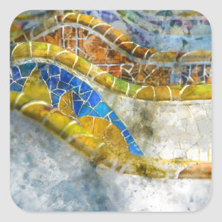 Parc Guell Bench Mosaics in Barcelona Spain Square Sticker