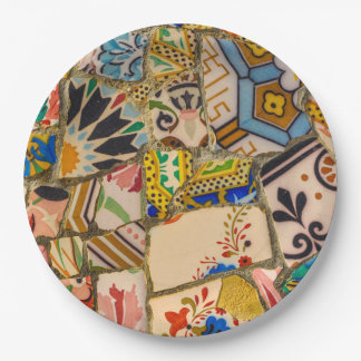 Parc Guell Ceramic Tile in Barcelona Spain Paper Plate