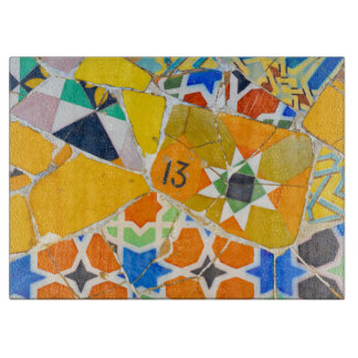 Parc Guell Ceramic Tiles in Barcelona Spain Cutting Board