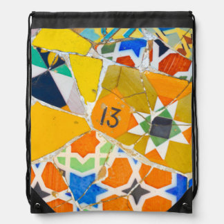 Parc Guell Ceramic Tiles in Barcelona Spain Drawstring Bag