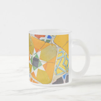 Parc Guell Ceramic Tiles in Barcelona Spain Frosted Glass Coffee Mug