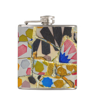 Parc Guell Ceramic Tiles in Barcelona Spain Hip Flask