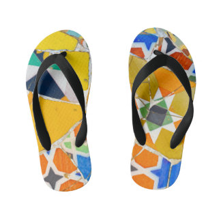 Parc Guell Ceramic Tiles in Barcelona Spain Kid's Thongs