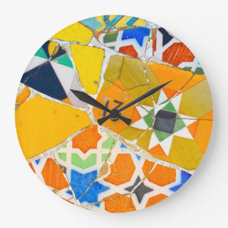 Parc Guell Ceramic Tiles in Barcelona Spain Large Clock