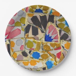 Parc Guell Ceramic Tiles in Barcelona Spain Paper Plate