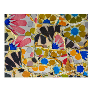 Parc Guell Ceramic Tiles in Barcelona Spain Postcard