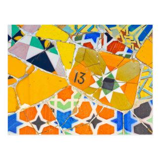 Parc Guell Ceramic Tiles in Barcelona Spain Postcard