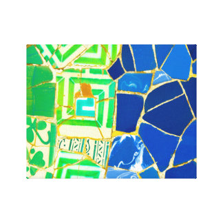 Parc Guell Green Tiles in Barcelona Spain Canvas Print