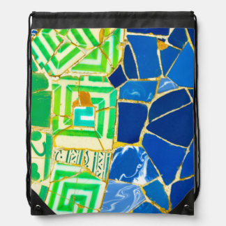 Parc Guell Green Tiles in Barcelona Spain Drawstring Bag