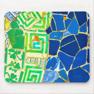 Parc Guell Green Tiles in Barcelona Spain Mouse Pad