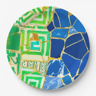 Parc Guell Green Tiles in Barcelona Spain Paper Plate