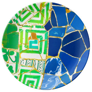 Parc Guell Green Tiles in Barcelona Spain Plate